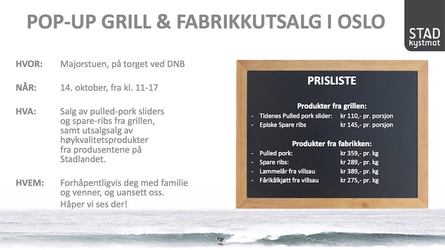 Pop Up BBQ i Oslo 14 Oktober